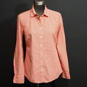 J. Crew The Perfect Shirt Orange Gingham Blouse